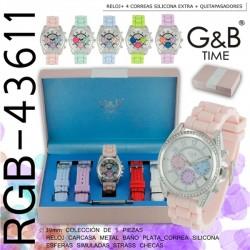 Conjunto Relogio G&B Senhora + 3 Braceletes 43611 - 8435128437452