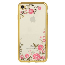 Tampa Traseira Flores Iphone X Gold - 5900217233237