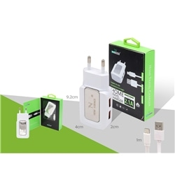 Nucleo 220V New Usb 2 Saida 2.1 + Cabo Iphone 5 Branc