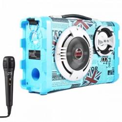 Coluna Karaoke C Microfone Bluetooth Azul AJ-1667HF - 6147