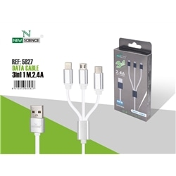 Cabo Dados New 3 em 1 Micro Usb + Iphone 5 + Tipo C 2.4Amp - 8416816605827