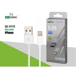 Cabo Dados New USB Iphone 5 2.4 A Branco 8119 - 8416846608119