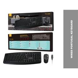 Teclado Tech Com Fios USB PT TK1268 + Rato Com Fios Preto - 5688143390049